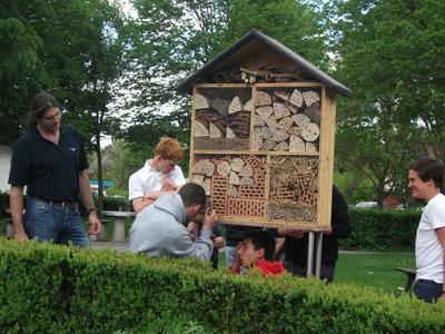 Wildbienenhotel im Kräutergarten